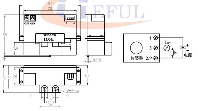 Industrial AC Current Transmitter / Hall Effect Current Sensor Easy Installation